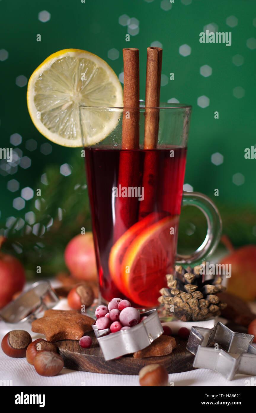 Mulled Wine, Christmas Glogg Festive Hot Drink - Stock Image