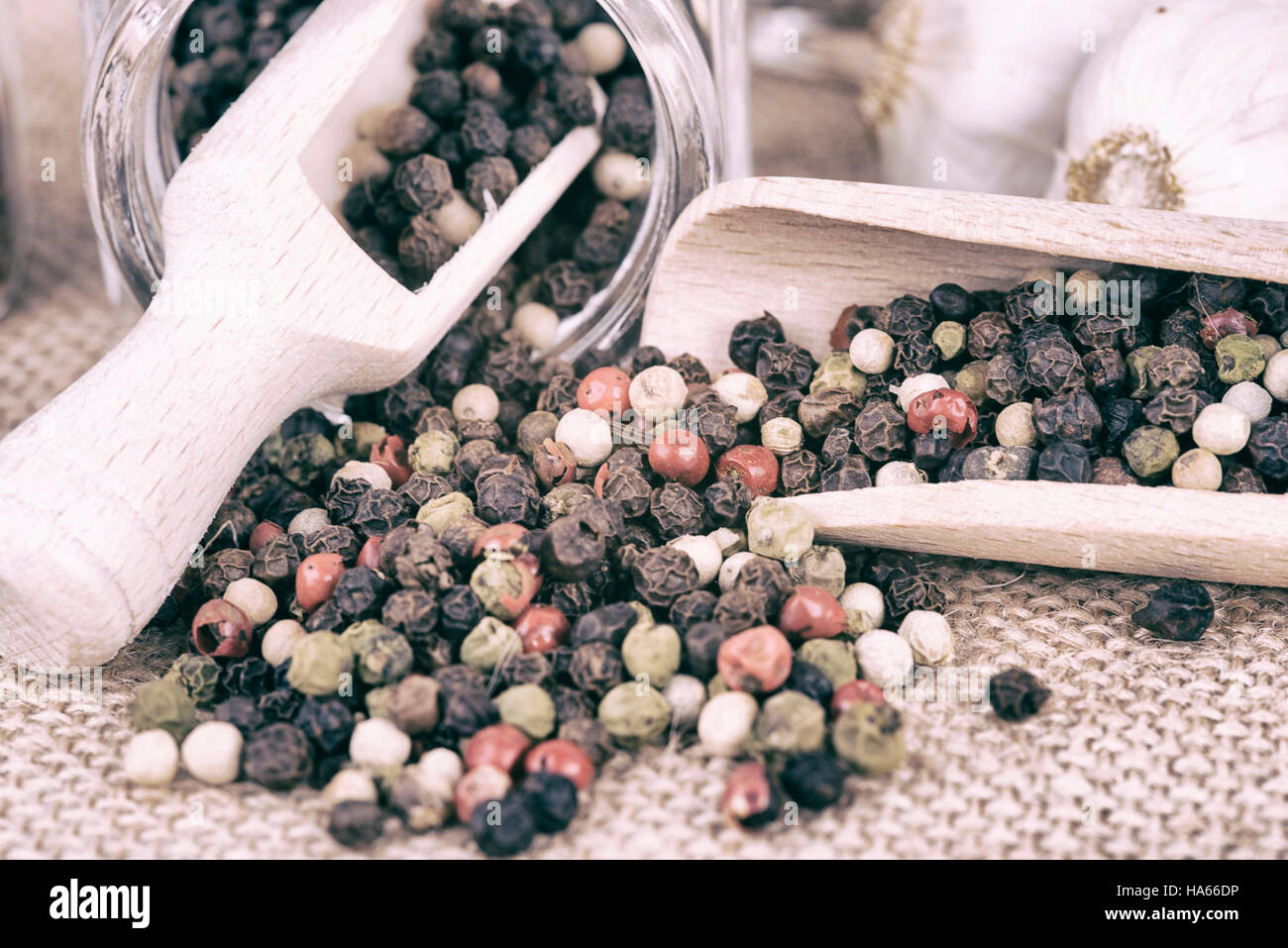 pepper stored in the container - Stock Image