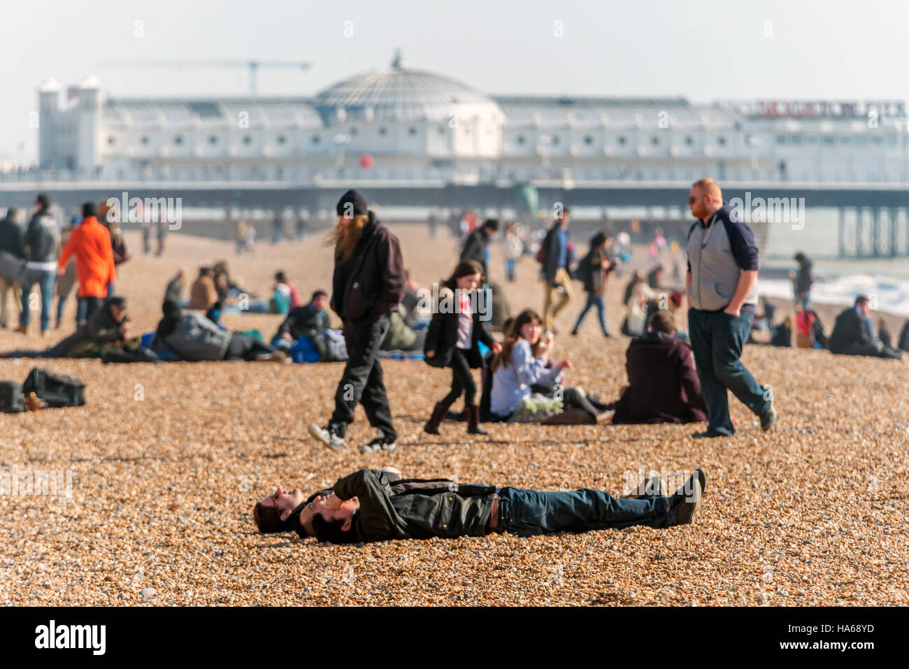 A bright spring morning on Brighton beach. - Stock Image