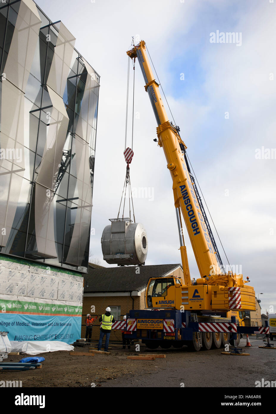 A crane lifts an ultra-powerful £10 million magnetic Stock Photo