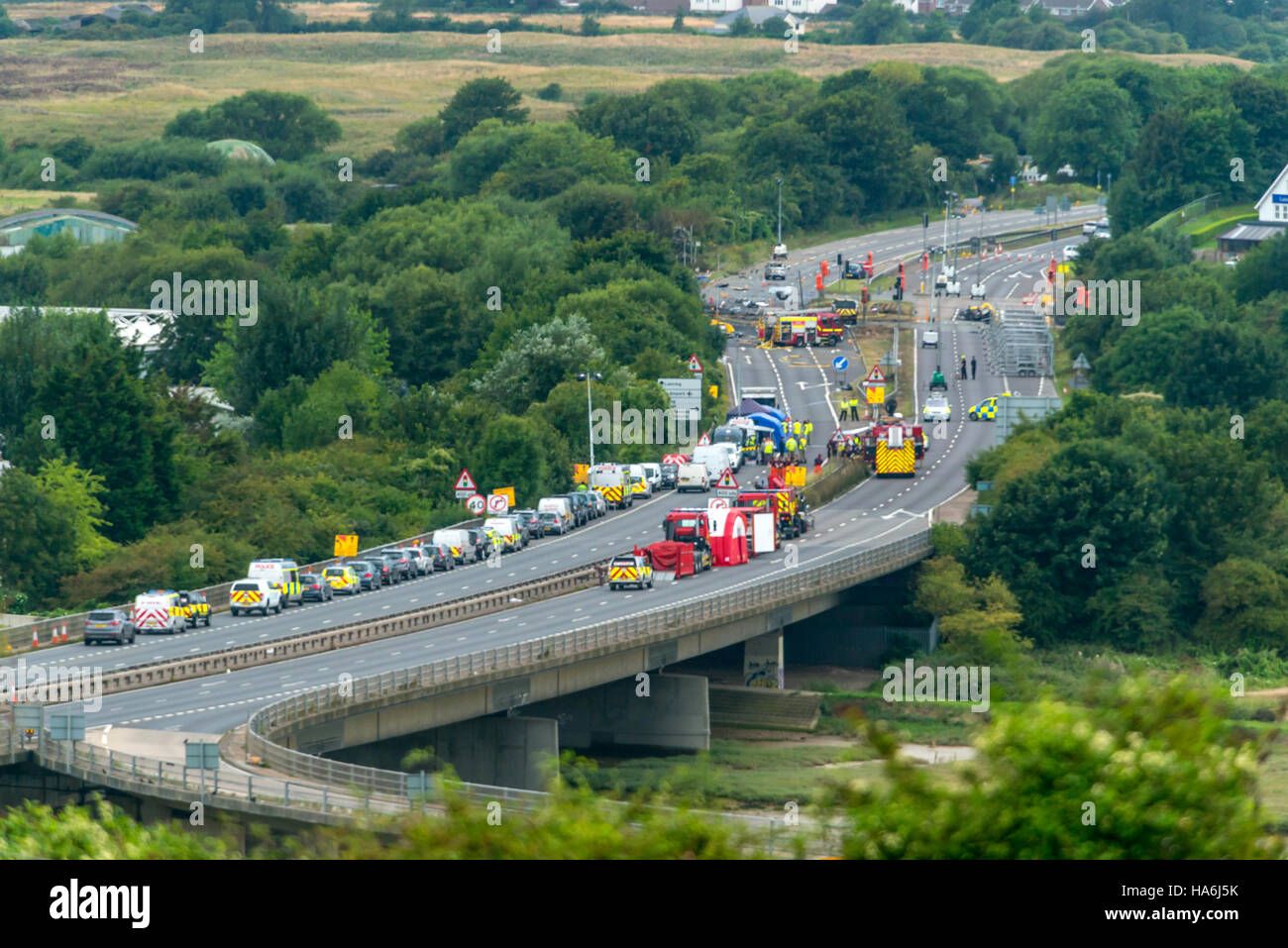 The scene on the A27 after the Shoreham air disaster - Stock Image