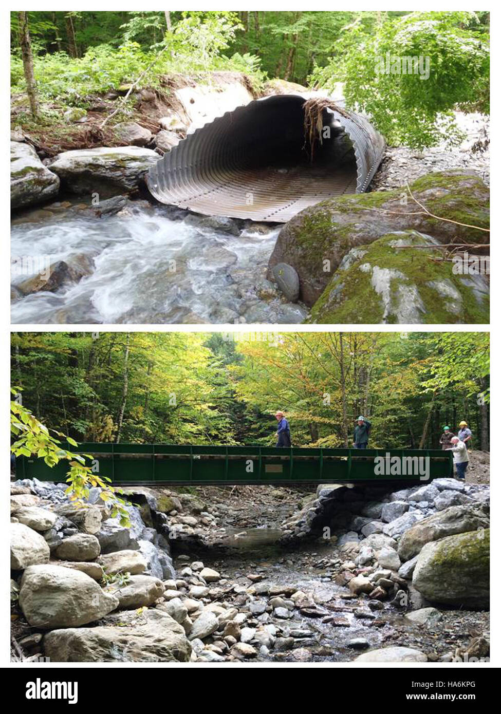 eddiesfisheriesfws 16039041429 Preston Brook, Honey Hollow Road, Bolton, VT - before and after - Stock Image