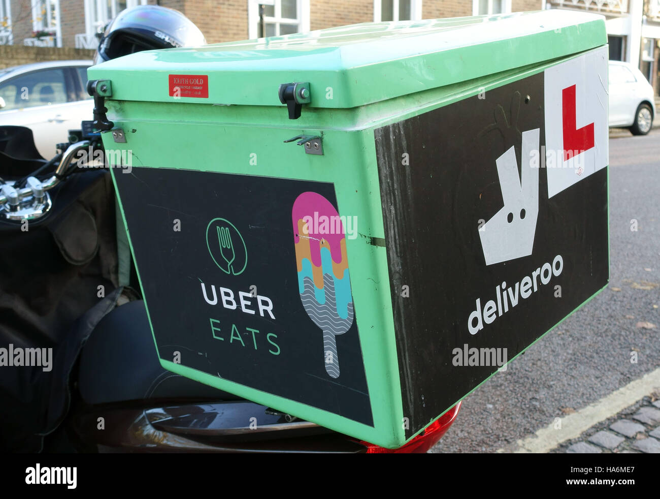 Food delivery driver working for both Uber Eats and Deliveroo