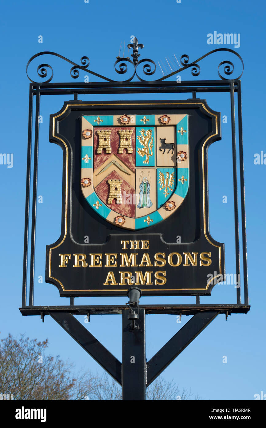 pub sign for the freemasons arms, hampstead, london, england - Stock Image