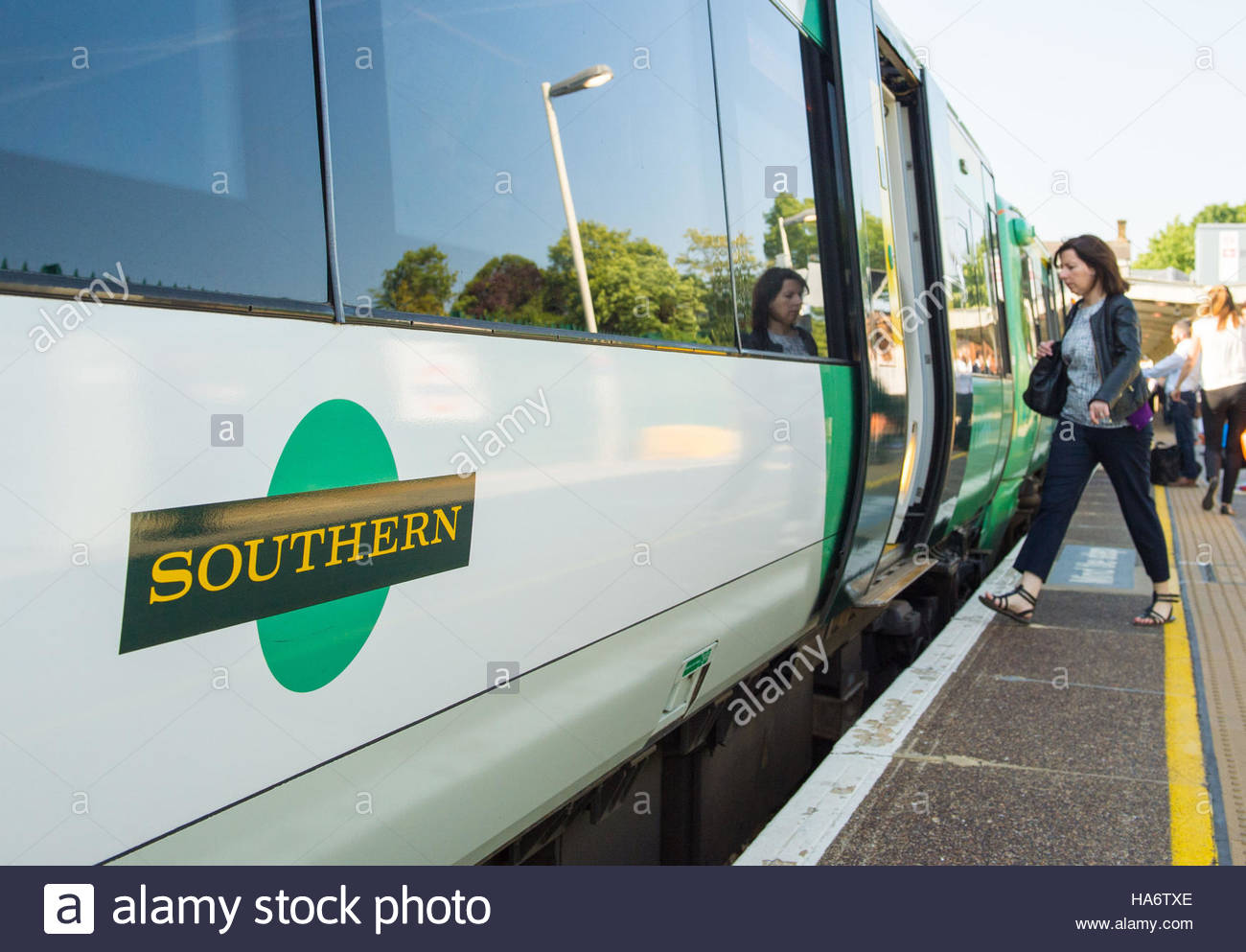 Embargoed to 0001 Monday November 28 File photo dated 11/06/15 of a Southern rail train, as the result of a strike - Stock Image