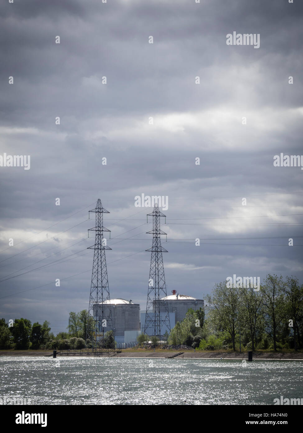 Reactor blocks of the nuclear power plant Fessenheim, France, at the river of Rhine. - Stock Image
