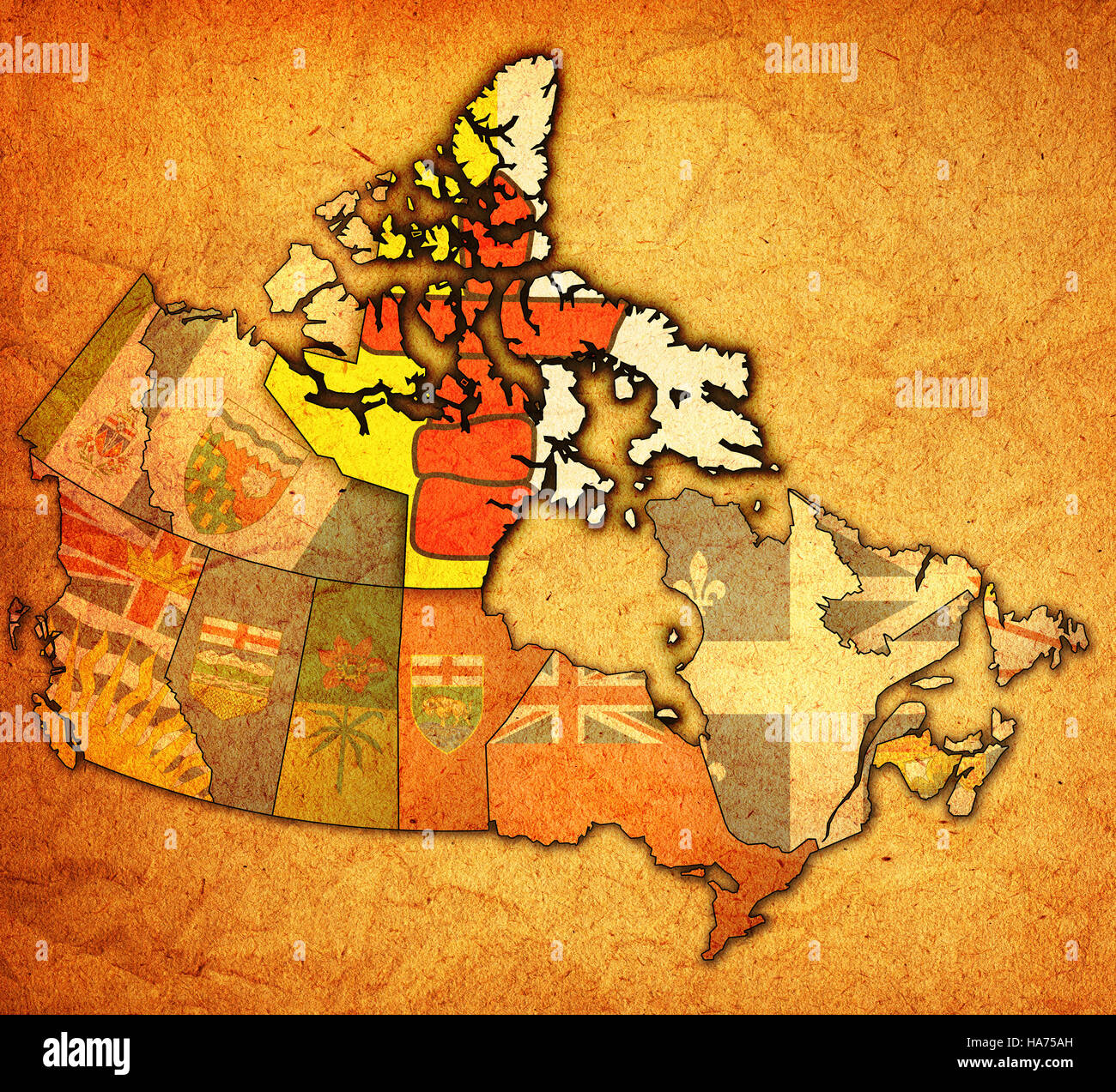Map Of Canada Nunavut.Nunavut On Administration Map Of Canada With Flags Stock Photo