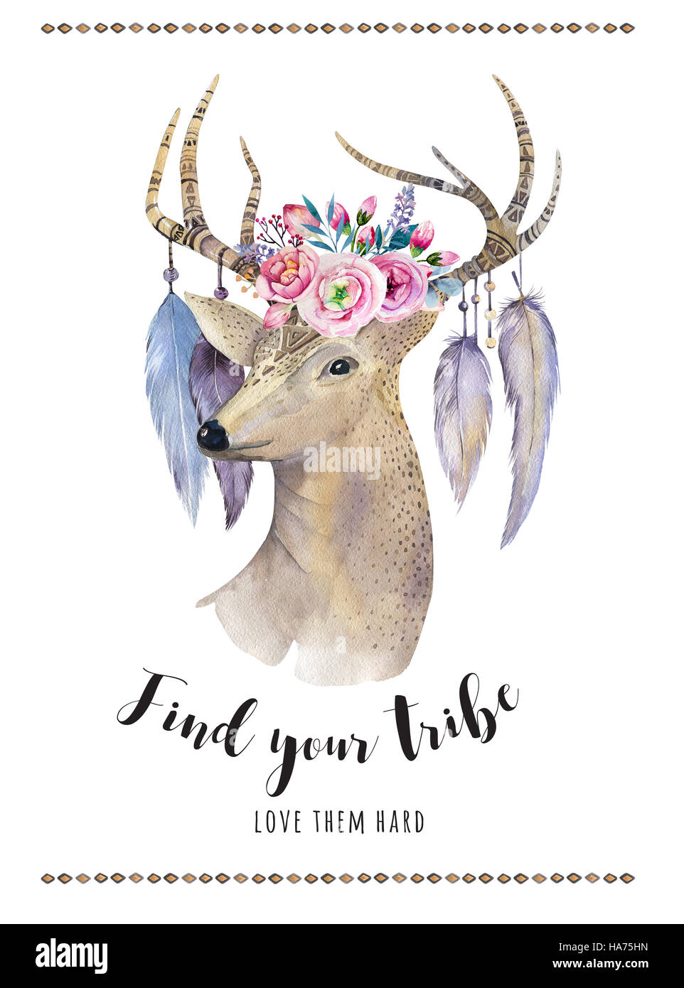 Watercolor hand drawn deer.ethnic print in native western Americ - Stock Image
