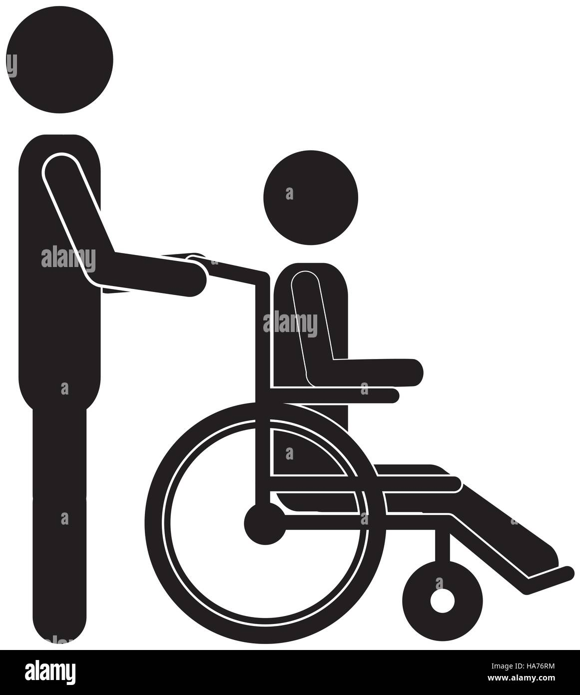Silhouette Person Helping Another Push A Wheelchair Stock