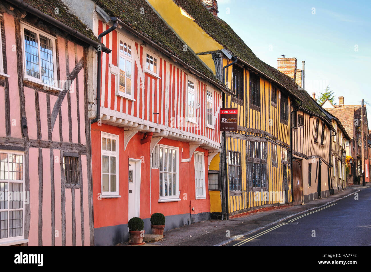 Half-timbered medieval cottages, Water Street, Lavenham, Suffolk, England, United Kingdom Stock Photo