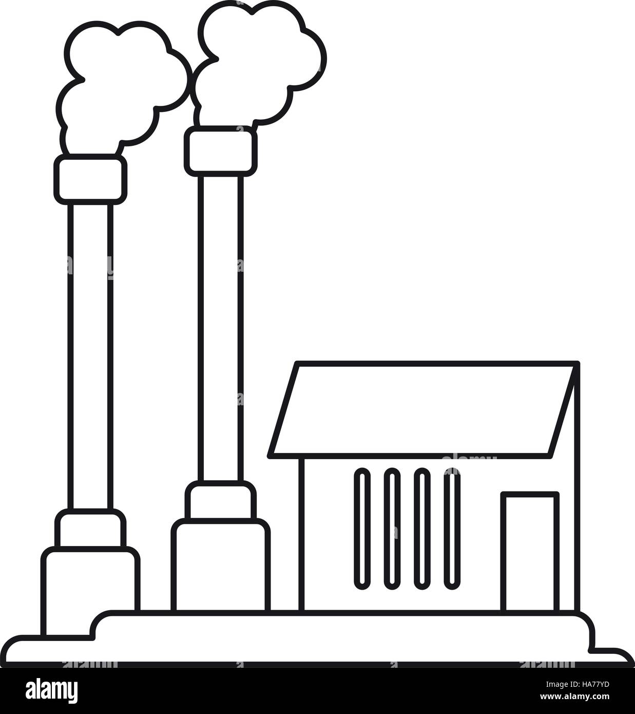 industrial factory buiding pollution symbol pictograph - Stock Image