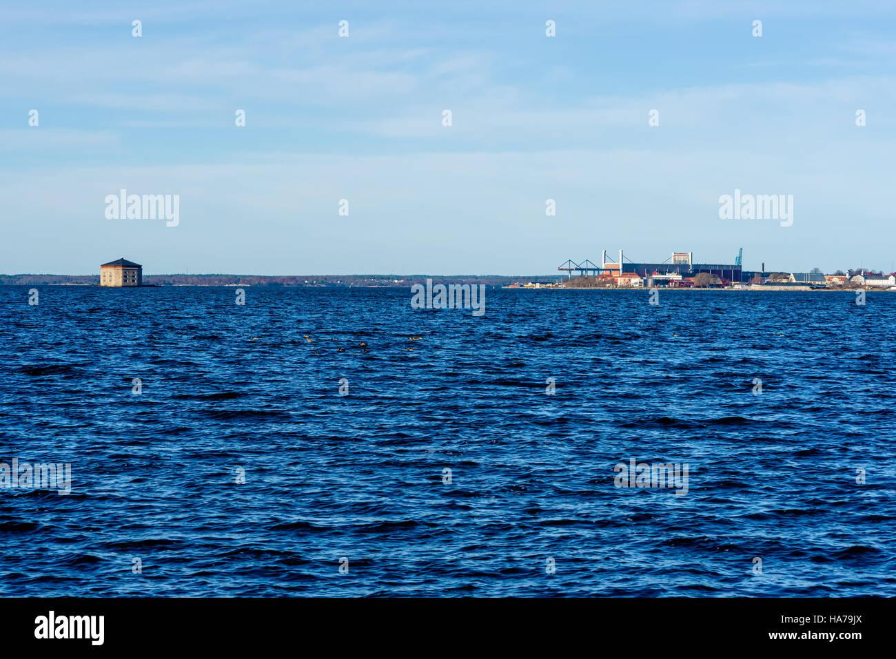 Part Of The Swedish Coastal Heritage City Karlskrona With Shipyard And 19th Century
