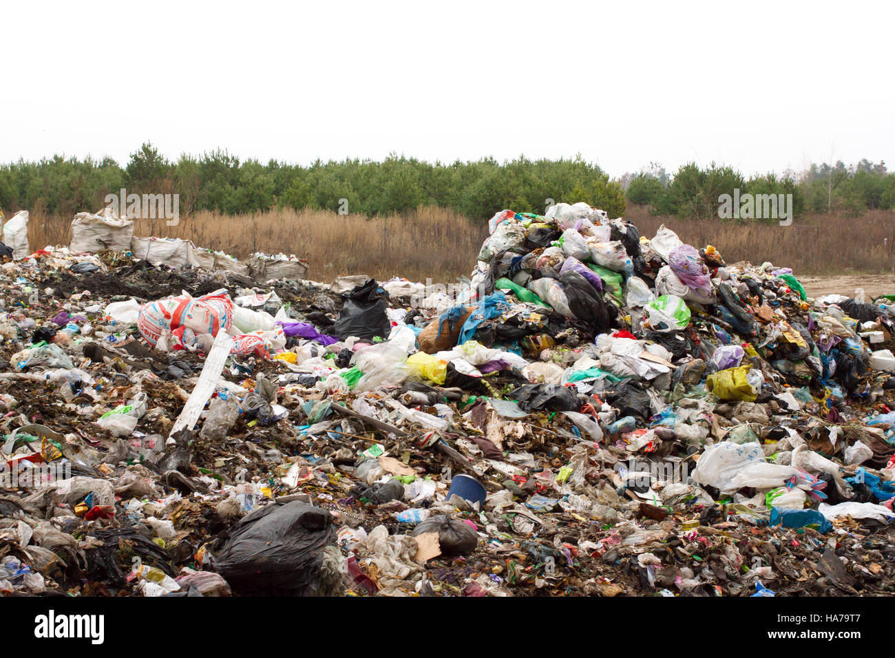 Landfill in Ukraine, piles of plastic dumped in . The roads along inorganic waste jumble - Stock Image