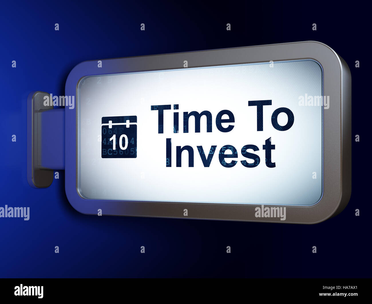 Time concept: Time To Invest and Calendar on billboard background - Stock Image