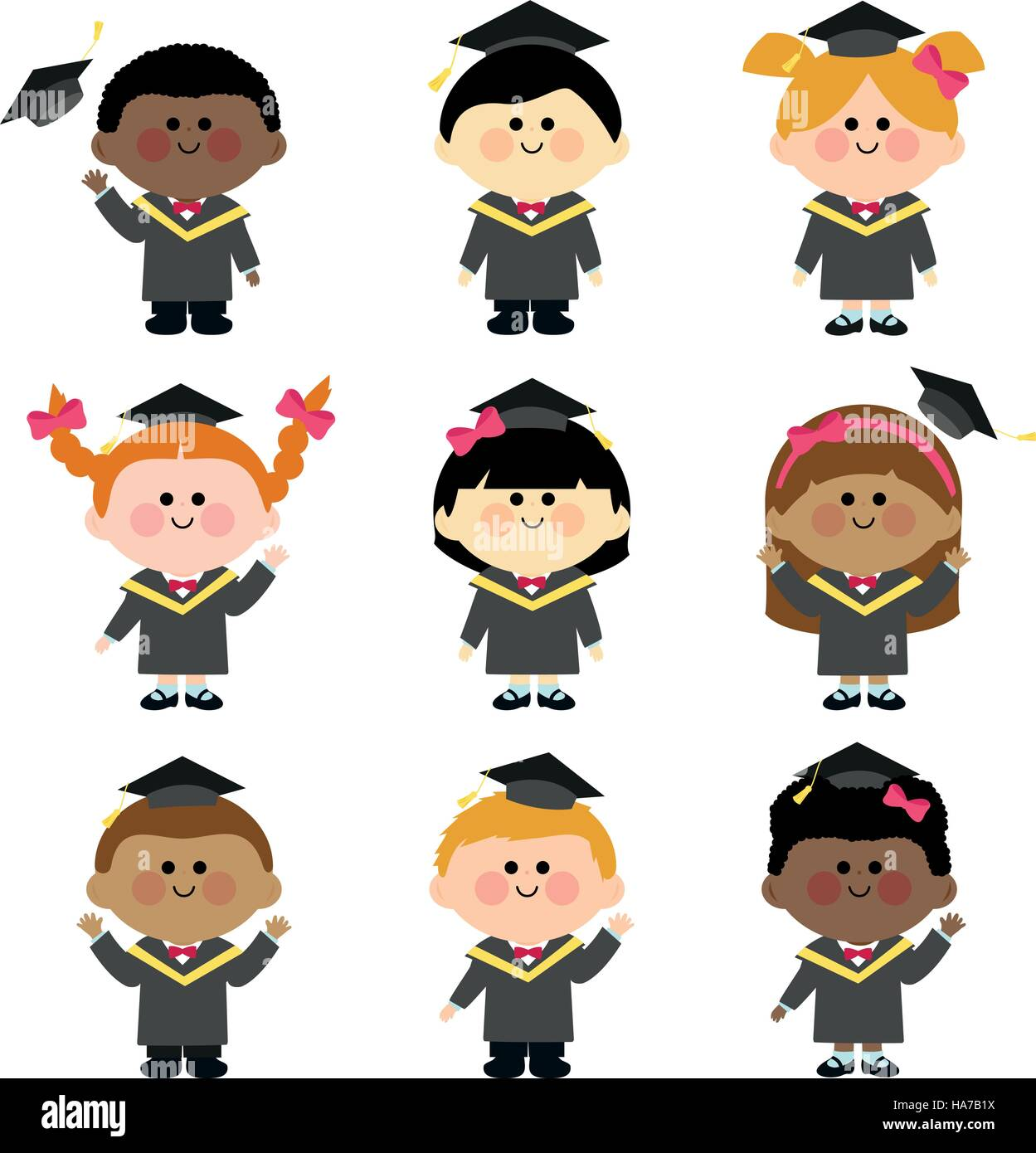 Group of graduation kids with graduation gowns and hats Stock Vector ...