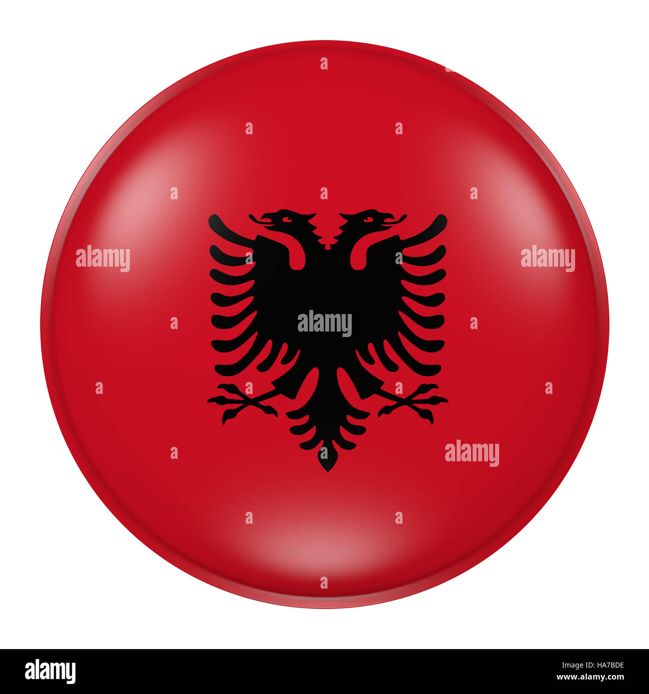 3d rendering of  Albania flag on a button - Stock Image
