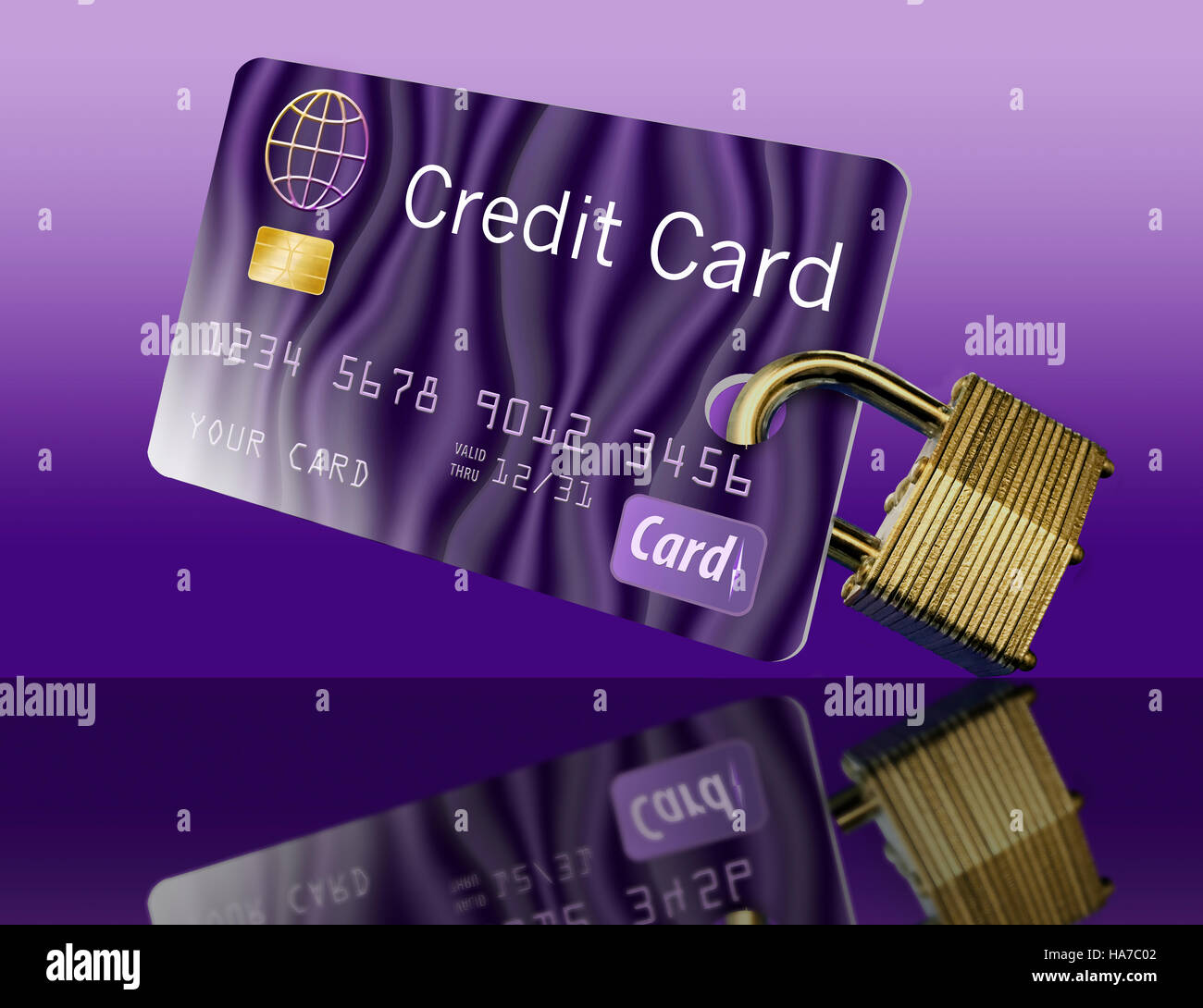 A credit card is seen with a padlock attached to support the theme of securing your credit card or using a secure - Stock Image