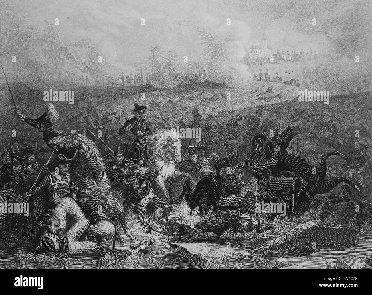 Battle of Austerlitz or Battle of 3 Emperors. 2 Decembre 1805. Napoleonic Wars. Engraving. 19th century. - Stock Image