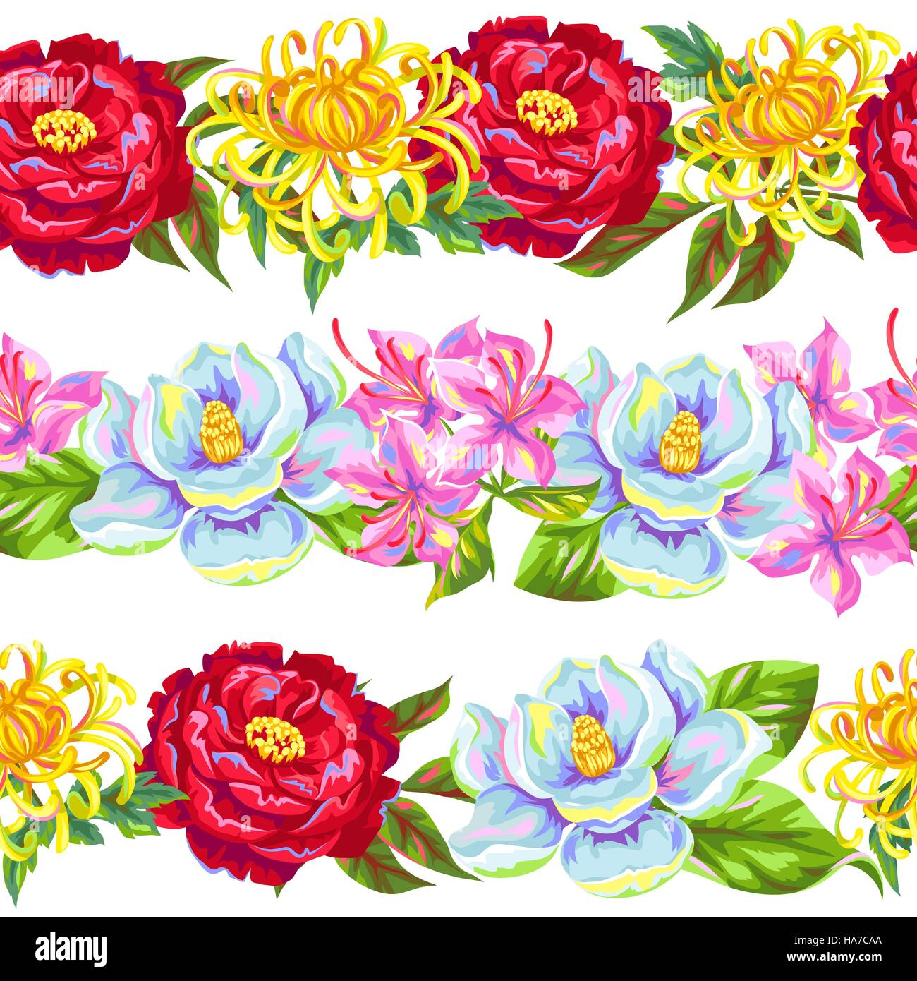 Seamless pattern with China flowers. Bright buds of magnolia, peony, rhododendron and chrysanthemum - Stock Vector