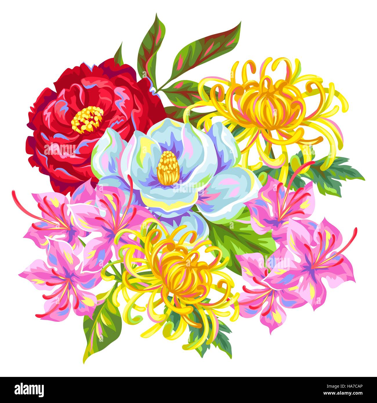 Bouquet with China flowers. Bright buds of magnolia, peony, rhododendron and chrysanthemum - Stock Vector