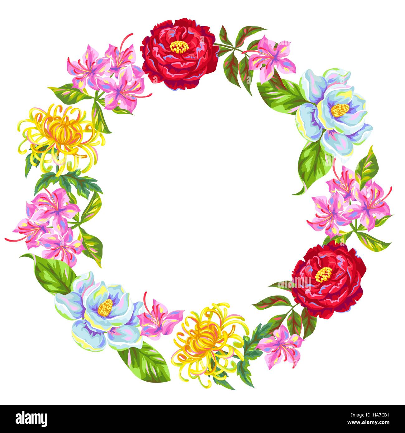Wreath with China flowers. Bright buds of magnolia, peony, rhododendron and chrysanthemum - Stock Vector