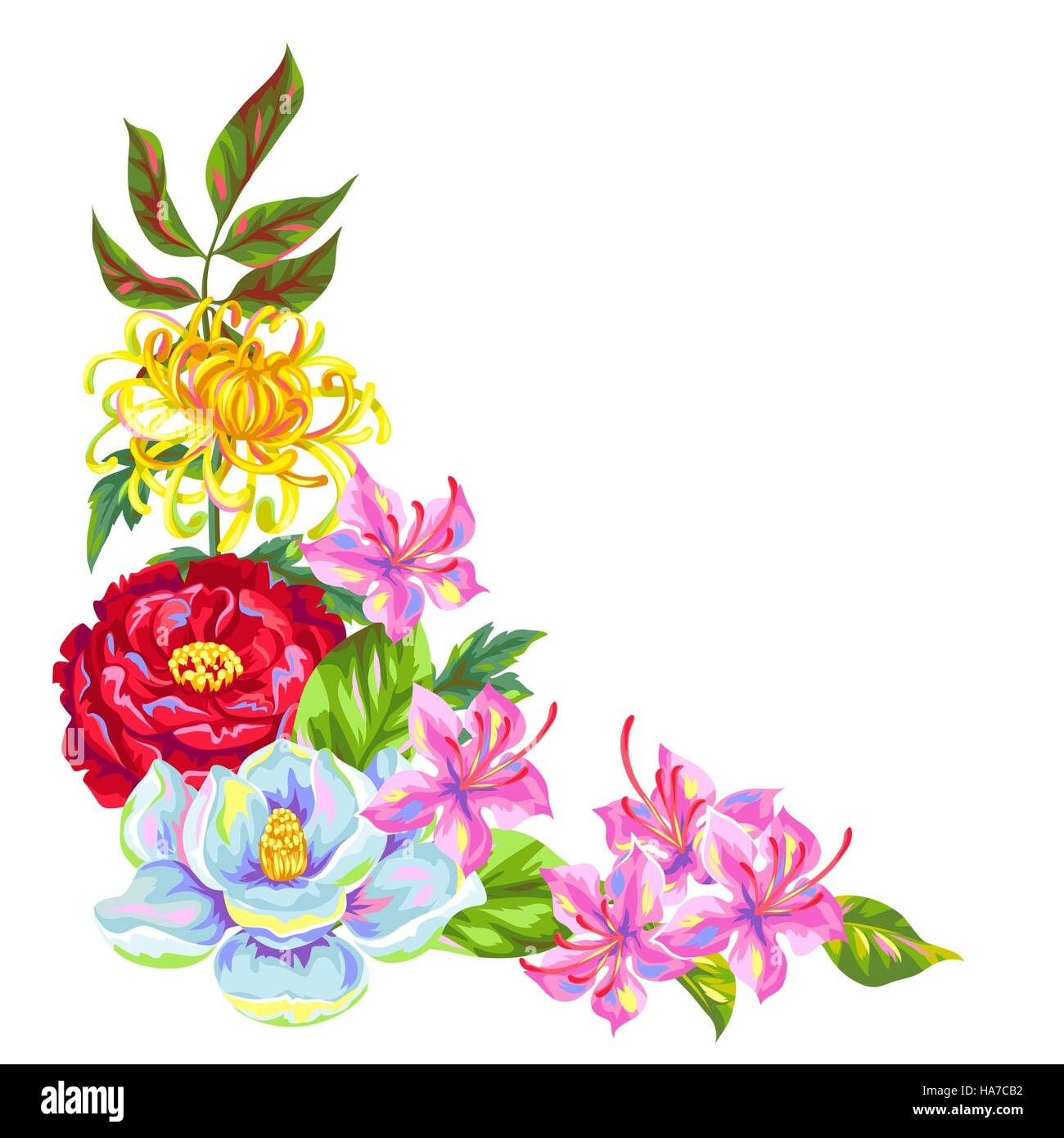 Decorative element with China flowers. Bright buds of magnolia, peony, rhododendron and chrysanthemum - Stock Vector