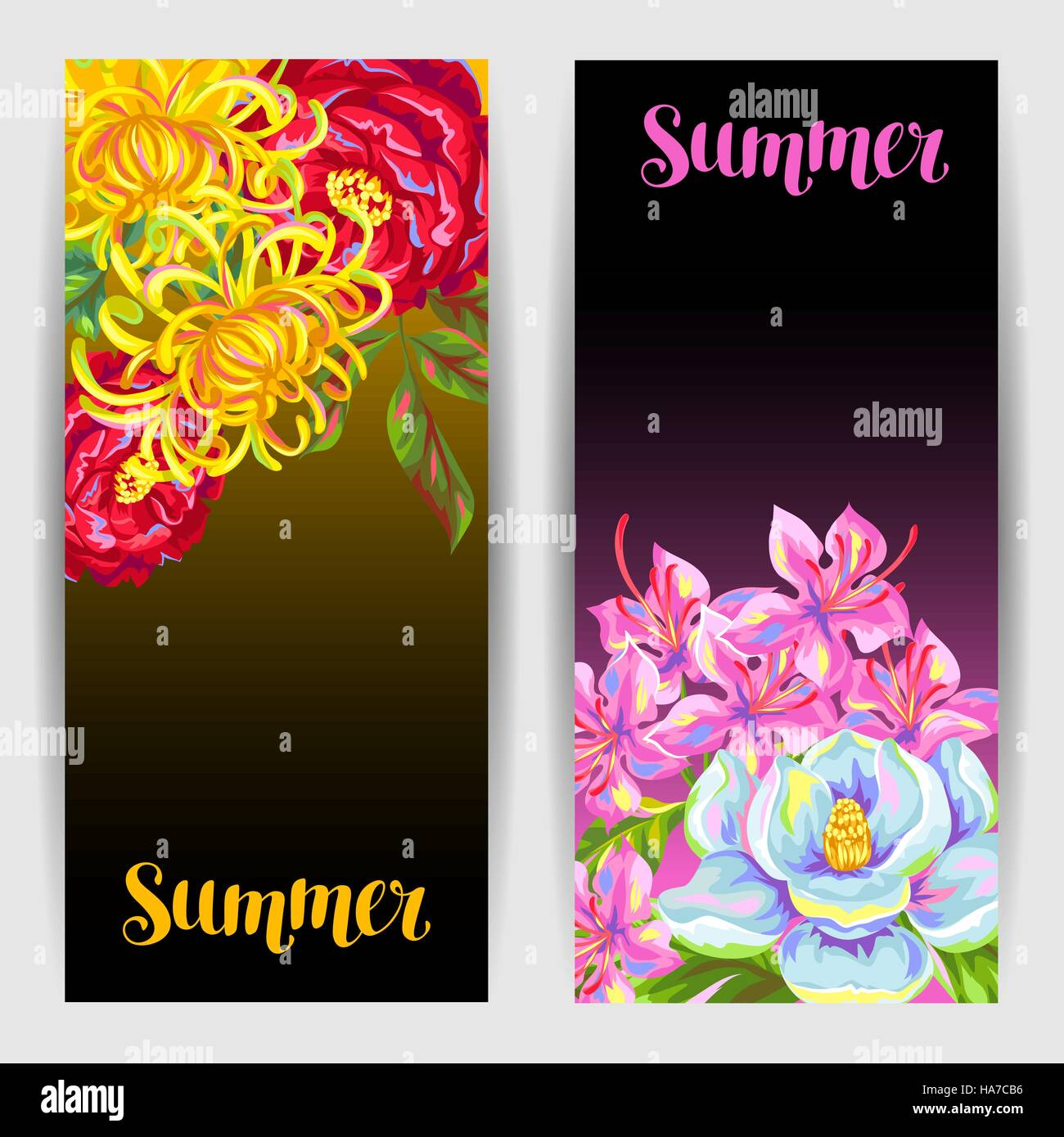 Banners set with China flowers. Bright buds of magnolia, peony, rhododendron and chrysanthemum - Stock Vector