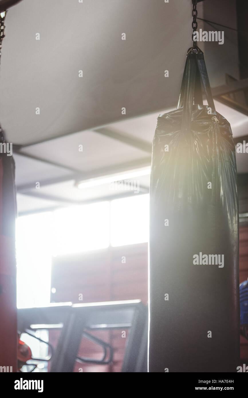 Punching bag hanging - Stock Image