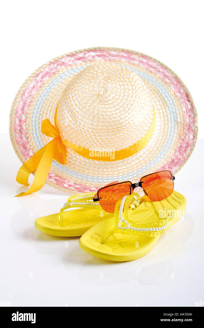 Beach accessoires, sun hat, flip-flops, sunglasses Stock Photo