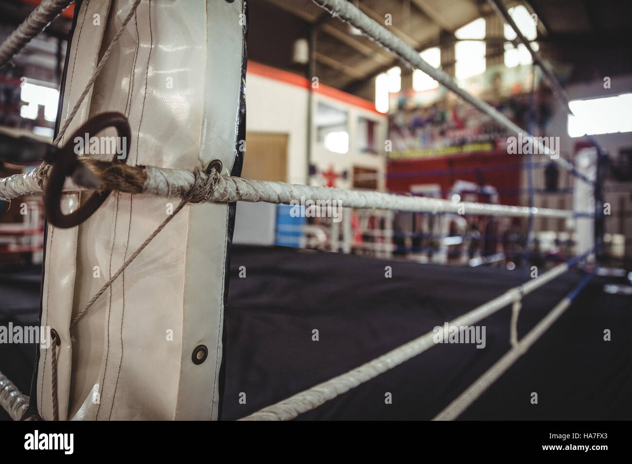Boxing ring in fitness studio - Stock Image