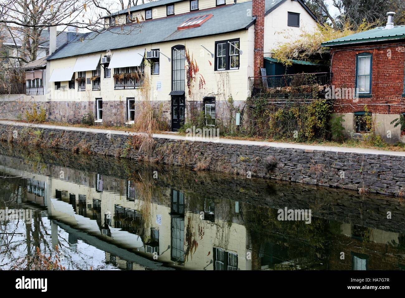 Along the canal. - Stock Image