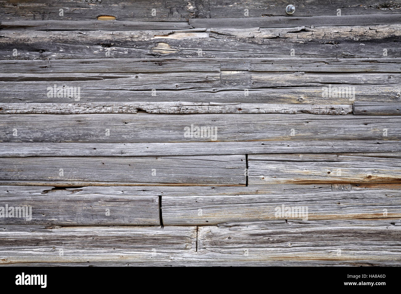 Photo of old wooden barn wall background. - Stock Image