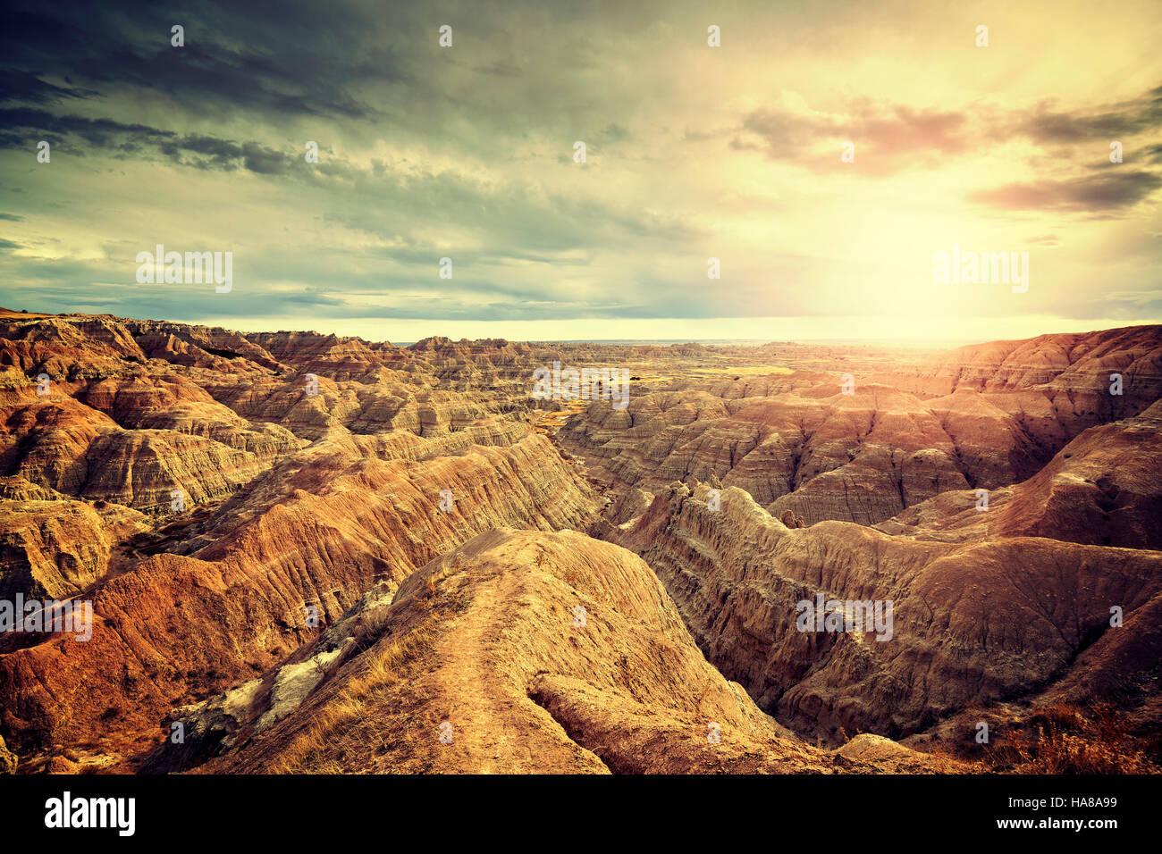 Vintage toned scenic sunset over Badlands National Park, South Dakota, USA. - Stock Image