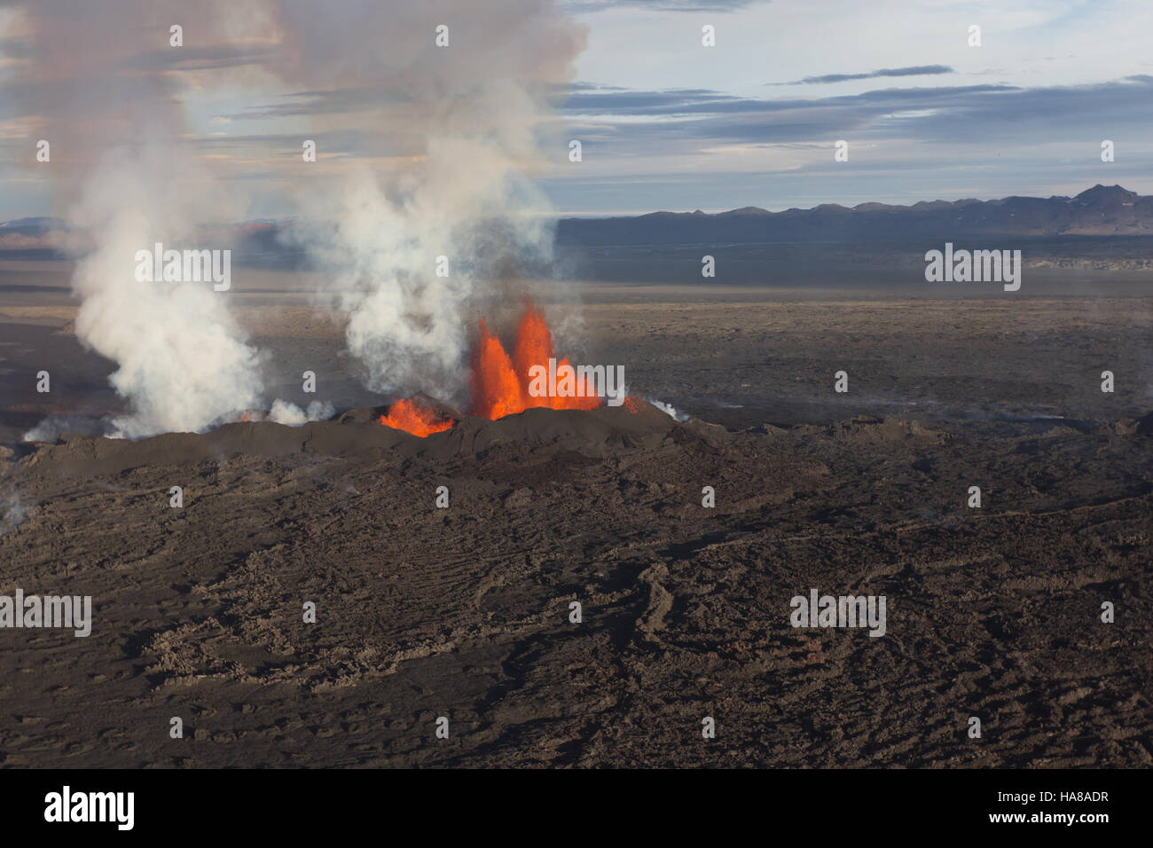 Volcano eruption in Holuhraun - Stock Image