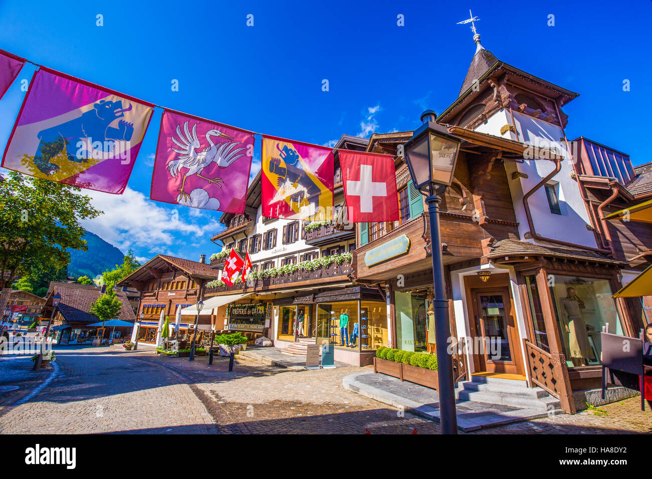 old city center of gstaad village - famous ski resort in swiss alps