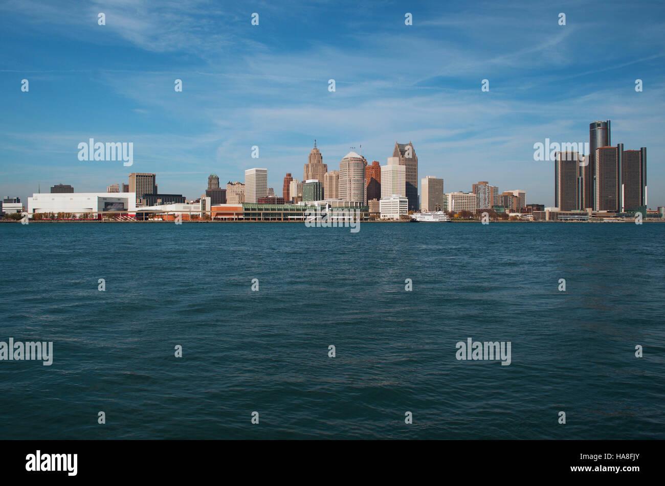 Detroit, Michigan Panoramic View Of The Skyline November 2016 - Stock Image