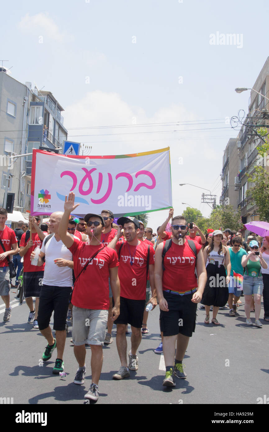 TEL-AVIV - JUNE 13, 2014: A group representing a gay youth club march in the Pride Parade in the streets of Tel - Stock Image
