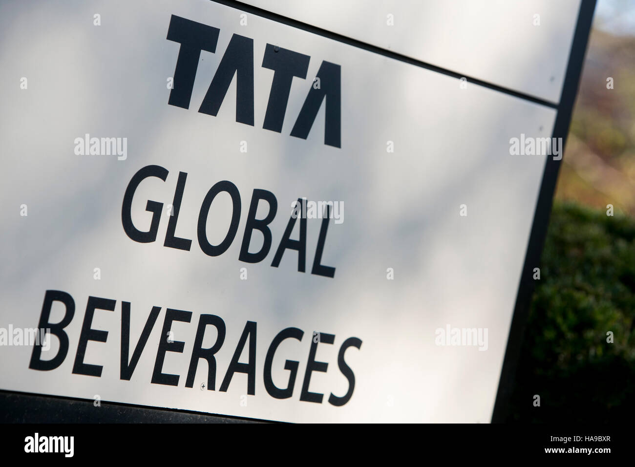 A logo sign outside of a facility occupied by Tata Global Beverages in Montvale, New Jersey on November 5, 2016. - Stock Image