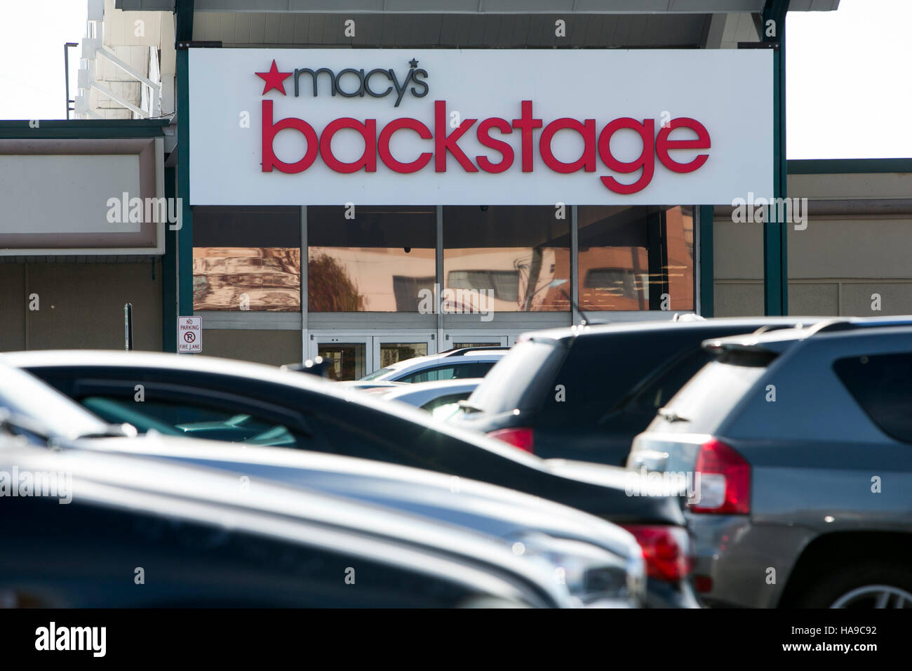 A logo sign outside of a Macy's Backstage retail store in West Orange, New Jersey on November 5, 2016. - Stock Image