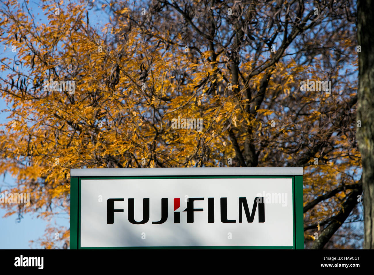 A logo sign outside of a facility occupied by Fujifilm in Edison, New Jersey on November 6, 2016. - Stock Image