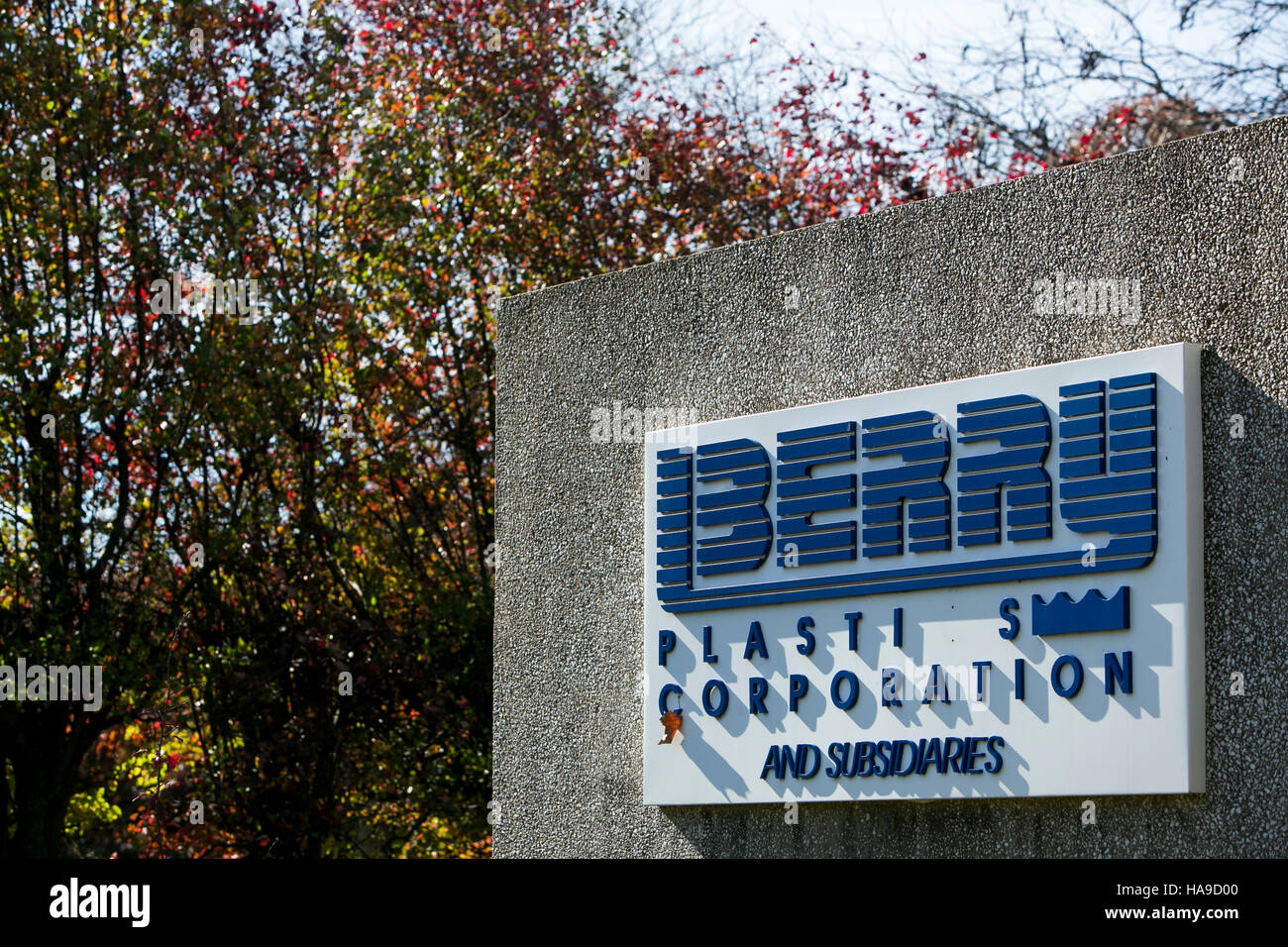 A logo sign outside of a facility occupied by Berry Plastics in Piscataway Township, New Jersey on November 6, 2016. - Stock Image