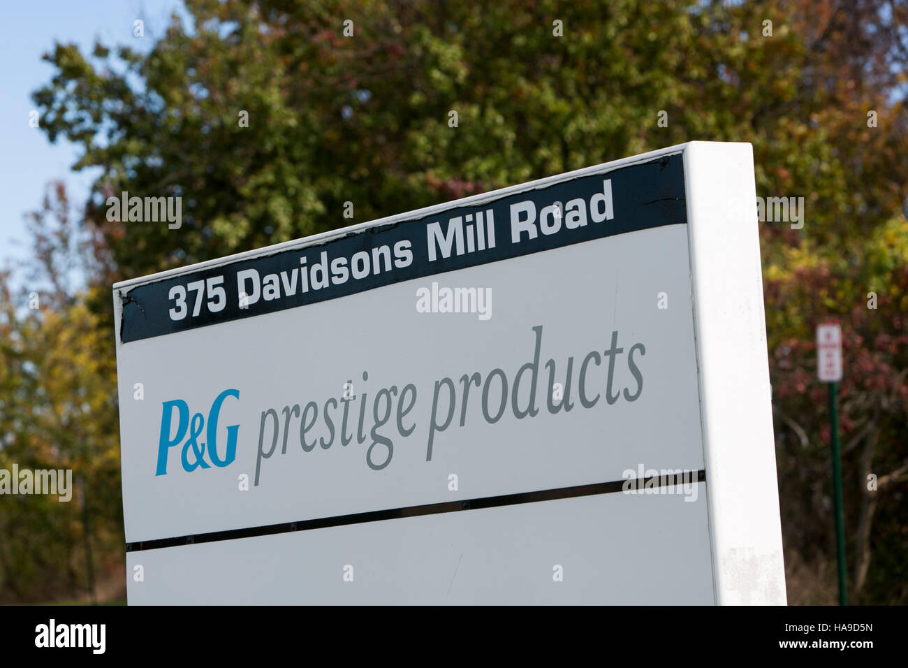 A logo sign outside of a facility occupied by P&G Prestige Products in Monroe Township, New Jersey on November - Stock Image