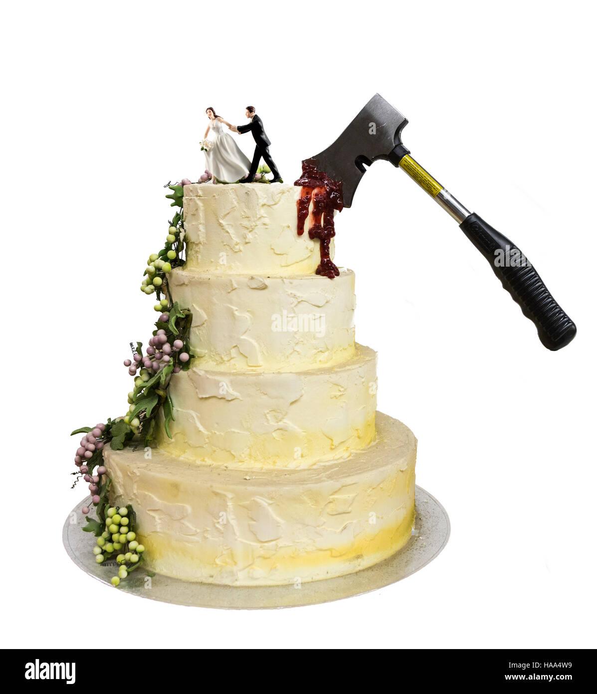 Axed wedding cake - Stock Image