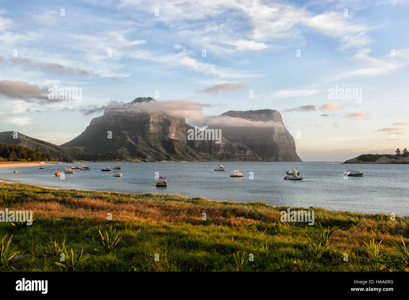 View of Mt Gower and Mt Lidgbird, Lord Howe Island, NSW, Australia - Stock Image