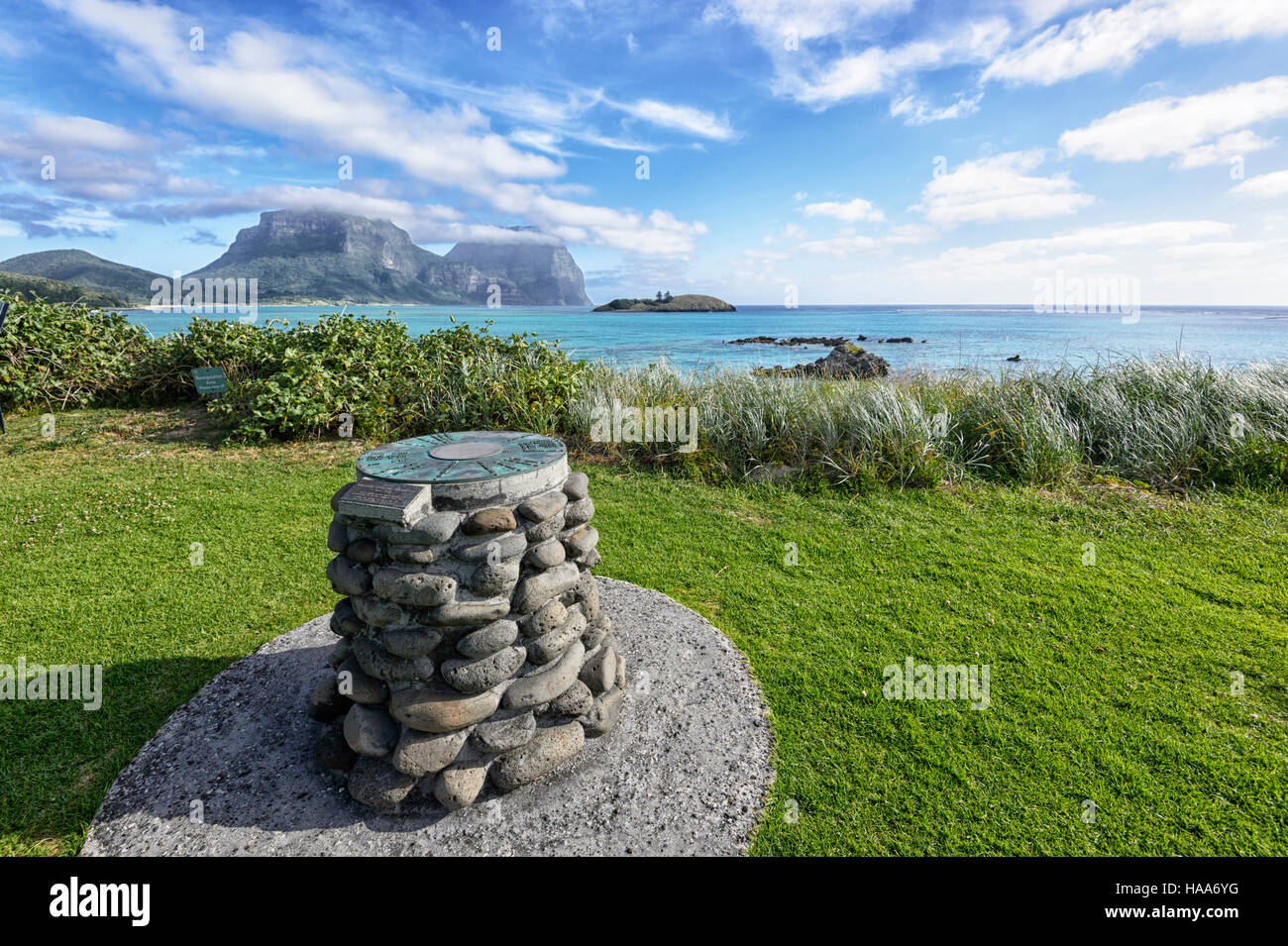 Sundial overlooking The Lagoon, with Mt Gower and Mt Lidgbird in the distance, Lord Howe Island, New South Wales, - Stock Image