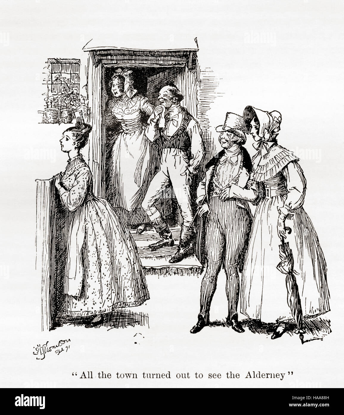 'All the town turned out to see the Alderney'  Illustration from the novel Cranford by Elizabeth Gaskell. - Stock Image