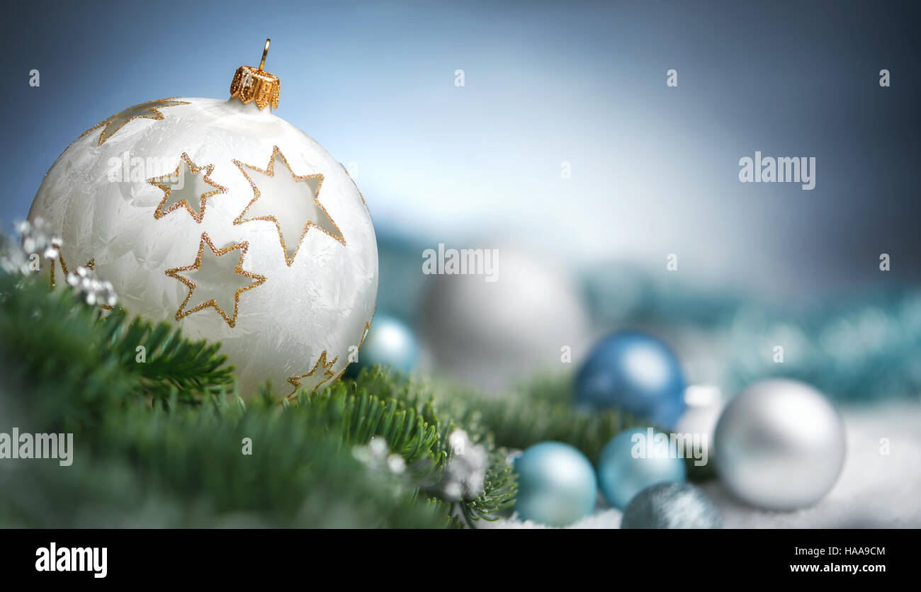 Christmas baubles closeup, shallow focus and dreamy look, elegant cool colors with copy space - Stock Image