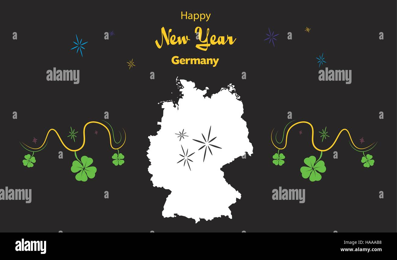 happy new year illustration theme with map of germany