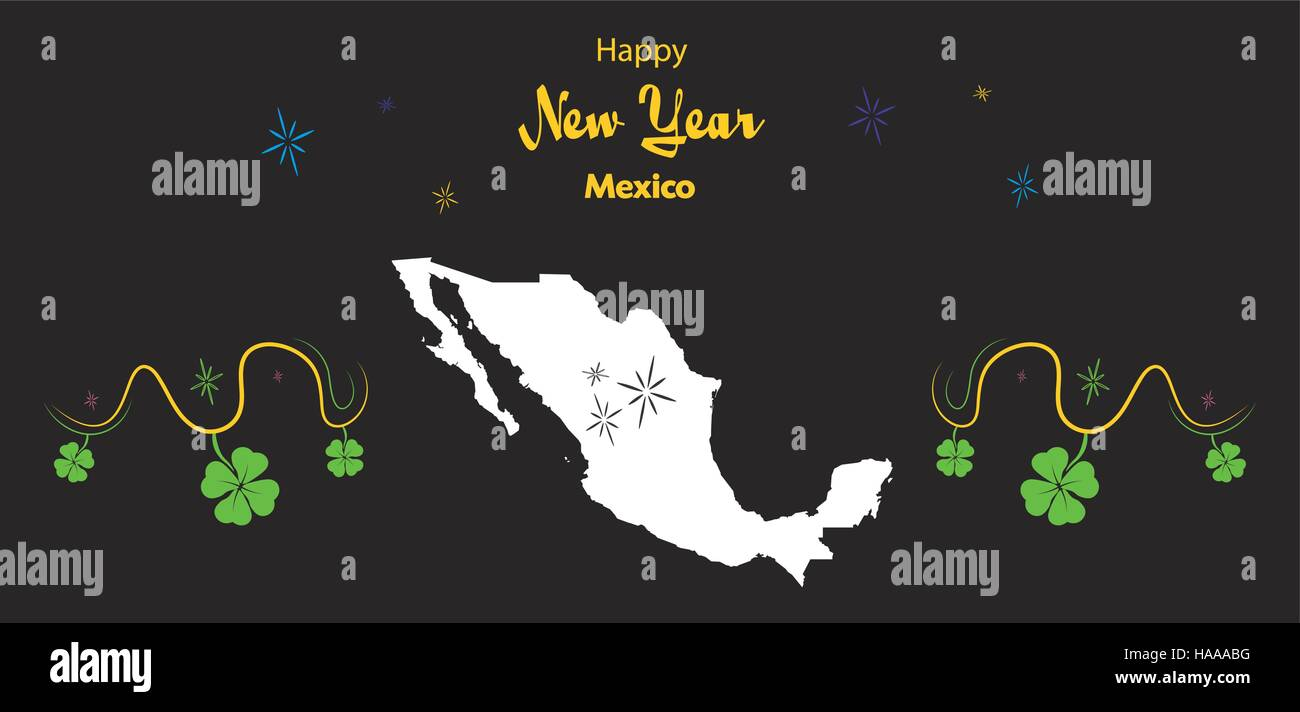 happy new year illustration theme with map of mexico