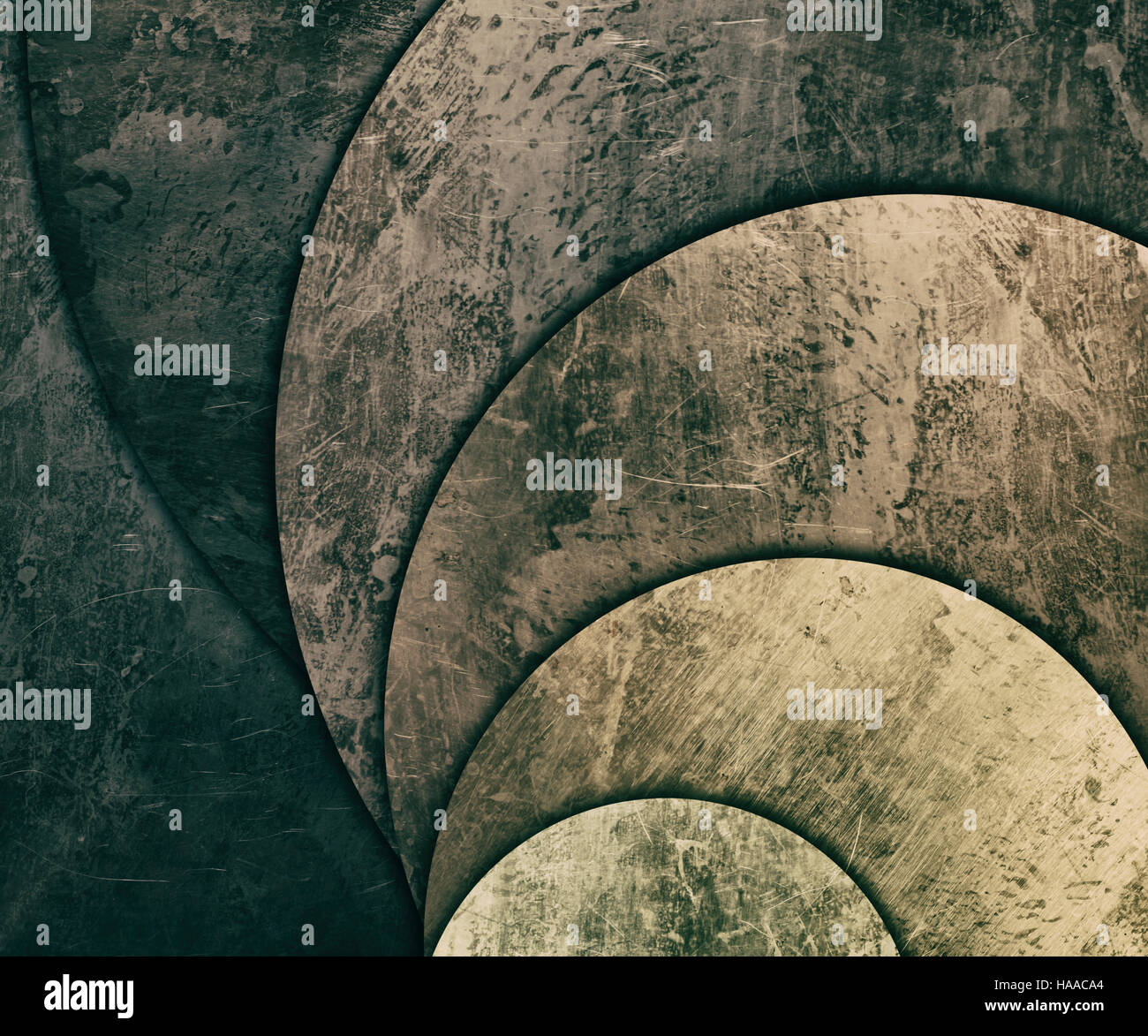scratched and old round plates background - Stock Image
